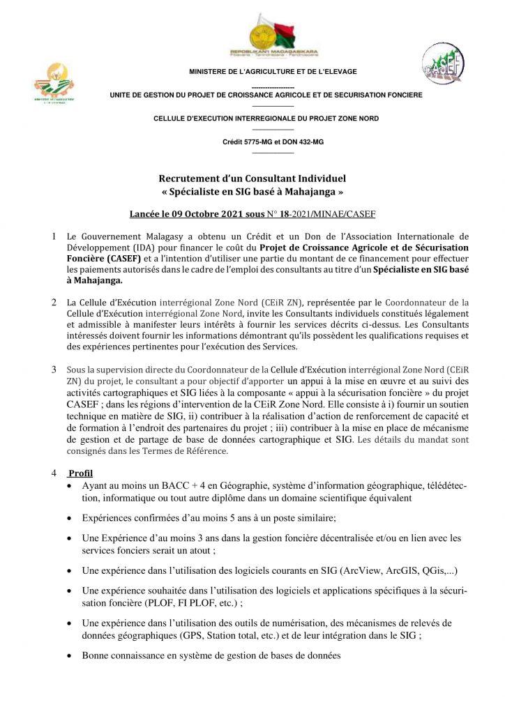 Recrutement d'un Consultant Individuel « Spécialiste en SIG basé à Mahajanga »